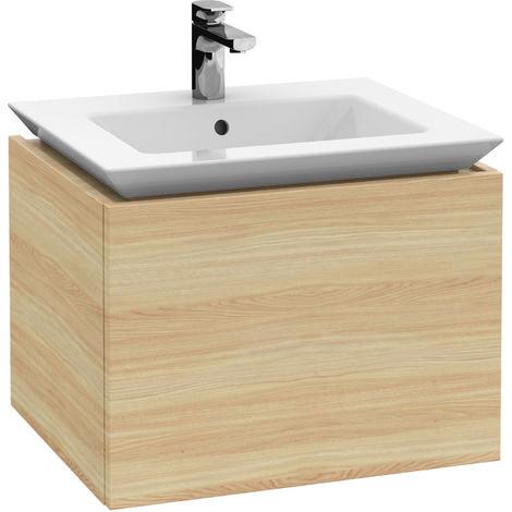 Villeroy & Boch Legato Vanity unit B220, 600x425x500mm, lavabo de armario, iluminación LED, color: Gris brillante - B220L0FP