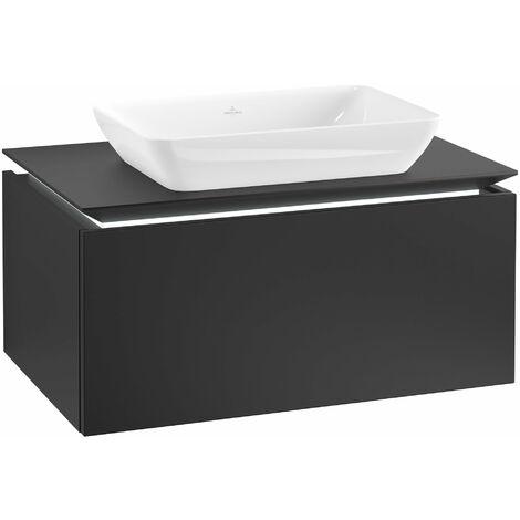 Villeroy & Boch Legato Vanity unit B226L0, 800x380x500mm, washbasin centre, LED lighting, colour: Black Matt Lacquer - B226L0PD