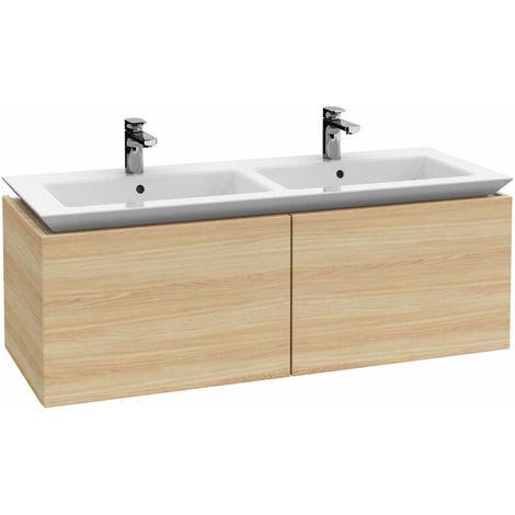 Villeroy & Boch Legato Vanity unit B242, 1300x425x500mm, mueble- doble lavabo, iluminación LED, color: Negro Mate Laca - B242L0PD