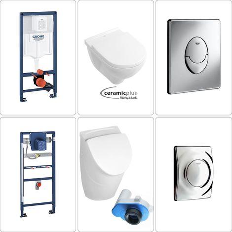 Villeroy & Boch O.Novo Urinal Set Grohe CeramicPlus, chrom