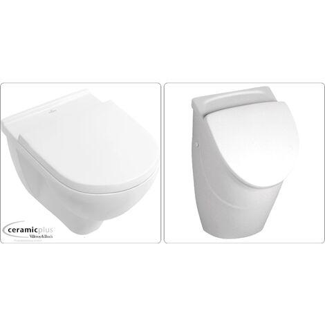 Villeroy & Boch O.Novo Urinal und Wand-WC mit Deckel, CeramicPlus