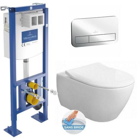 Villeroy & Boch Pack Bâti autoportant + WC Subway 2.0 rimless, fixations invisibles + Abattant softclose + Plaque Chrome (AutoVilleroySub2.0)