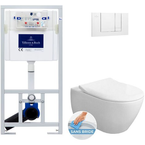 Villeroy & Boch Pack Bâti-support + Cuvette Subway 2.0 sans bride fixations invisibles + Abattant softclose + Plaque Blanche (ViConnectSub2.0-2)