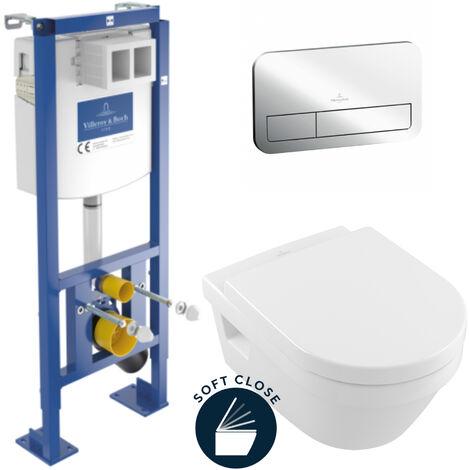 Villeroy & Boch Pack WC Bâti autoportant avec Cuvette Architectura + Abattant Softclose + Plaque Chrome (AutoVilleroyArchitectura)