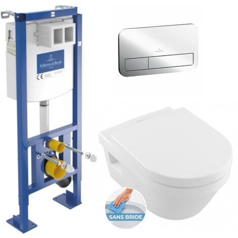 Villeroy & Boch Pack WC Bâti-autoportant avec Cuvette Architectura sans bride + Abattant softclose + Plaque Chrome (AutoVilleroyArchirim)