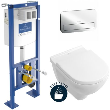 Villeroy & Boch Pack WC Bâti-autoportant avec Cuvette Villeroy & Boch O.NOVO + Abattant softclose + Plaque Chrome (AutoVilleroyOnovo)