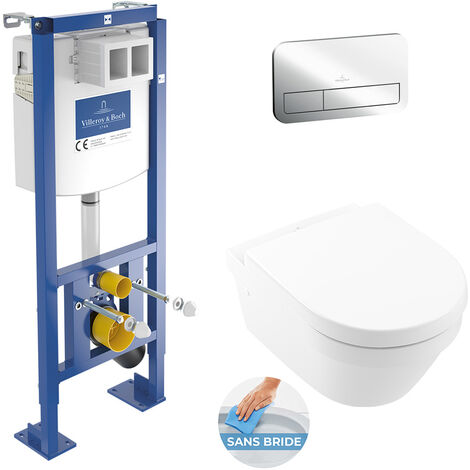 Villeroy & Boch Pack WC bâti autoportant Viconnect + Cuvette Architectura fixations invisibles + Plaque chrome (Architectura2set1)