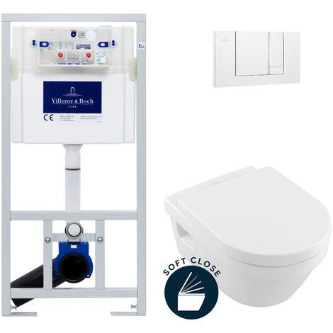 Villeroy & Boch Pack WC Bâti-support avec Cuvette Architectura + Abattant Softclose + Plaque Blanche (ViConnectArchi-2)