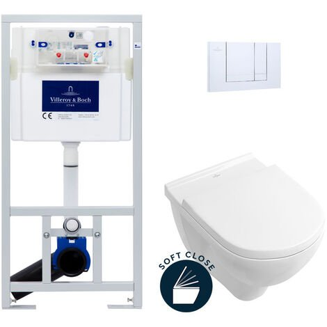 Villeroy & Boch Pack WC Bâti-support avec Cuvette O.Novo + Abattant softclose + Plaque chrome (ViConnectOnovo-1)