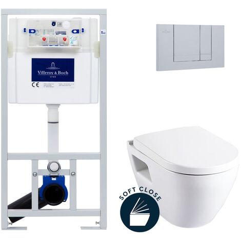 Villeroy & Boch Pack WC Bâti-support avec Cuvette Serel SM10 + Abattant softclose + Plaque chrome mat (ViConnectSM10-3)