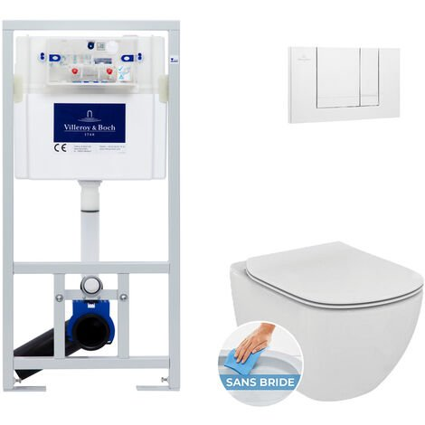 Villeroy & Boch Pack WC Bâti-support + Cuvette Ideal Standard TESI AquaBlade sans bride fixations invisibles + Plaque blanche (ViConnectTesi-2)