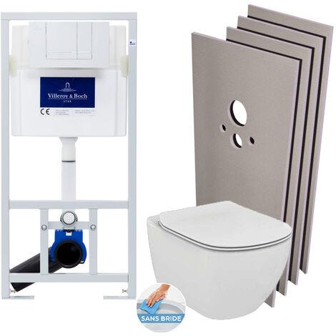 Villeroy & Boch Pack WC Bâti-support + Cuvette Ideal Standard TESI AquaBlade sans bride + Plaque blanche + Set habillage (ViConnectTesi-2-sabo)