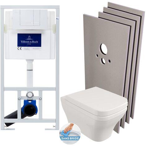 Villeroy & Boch Pack WC Bâti-support + Cuvette Livea Roma sans bride + Abattant + Plaque blanche + Set habillage (ViConnectRoma-2-sabo)