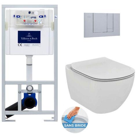 Villeroy & Boch Pack WC Bâti-support + WC Ideal Standard TESI AquaBlade sans bride fixations invisibles + Plaque chrome mat (ViConnectTesi-3)