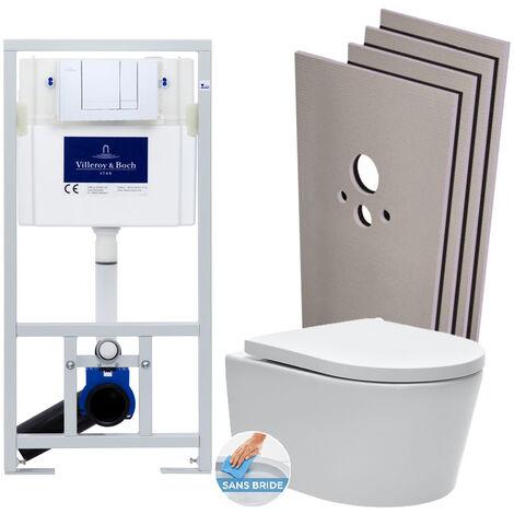 Villeroy & Boch Pack WC Bâti-support + WC SAT sans bride et fixations invisibles + Plaque chrome + Set habillage (ViConnectSATrimless-1-sabo)