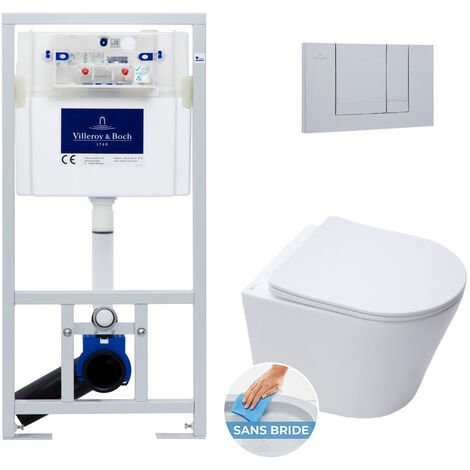 Villeroy & Boch Pack WC Bâti-support + WC Swiss Aqua Technologies sans bride et fixations invisibles + Plaque chrome mat (ViConnectInfinitio-3)