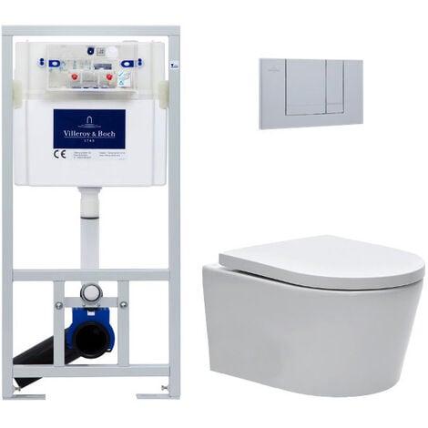 Villeroy & Boch Pack WC Bâti-support + WC Swiss Aqua Technologies sans bride et fixations invisibles + Plaque chrome mat (ViConnectSATrimless-3)