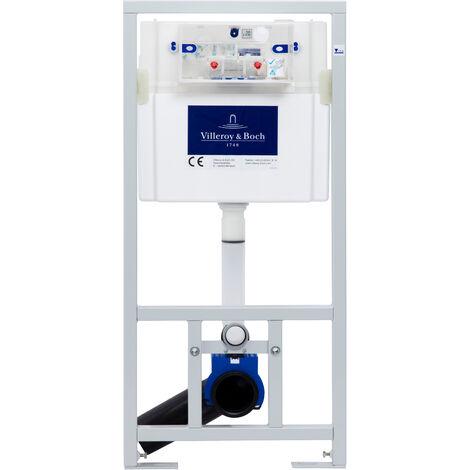 Villeroy & Boch Pack WC Bâti-support + WC Swiss Aqua Technologies sans bride et fixations invisibles + Plaque chrome (ViConnectSATrimless-1)