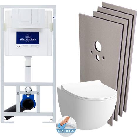 Villeroy & Boch Pack WC Bâti-support + WC Vitra Sento sans bride fixations invisibles + Plaque blanche + Set habillage (ViConnectSento-2-sabo)