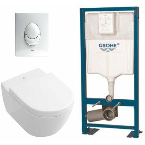 Villeroy & Boch Pack WC suspendu sans bride Subway 2.0 + abattant + plaque blanche + bâti Grohe
