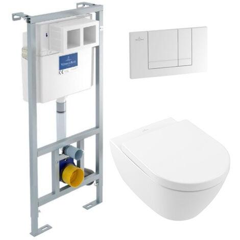 Villeroy & Boch Pack WC suspendu sans bride Subway 2.0 + abattant + plaque blanche + bâti Villeroy & Boch