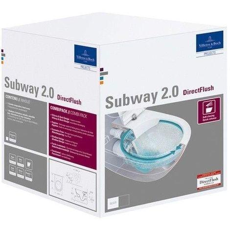 Villeroy & Boch Subway 2.0 Combi-Pack mit Wand-Tiefspül-WC DirectFlush mit offenem Spülrand L:56xB:37cm weiß mit CeramicPlus mit Slimseat-WC-Sitz mit Absenkautomatik 5614R2R1