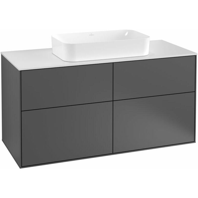 Finion Waschtischunterschrank F26100, 1200x603x501mm, Abdeckplatte White Matt, Farbe: Glossy Black Lacquer - F26100PH - Villeroy Und Boch