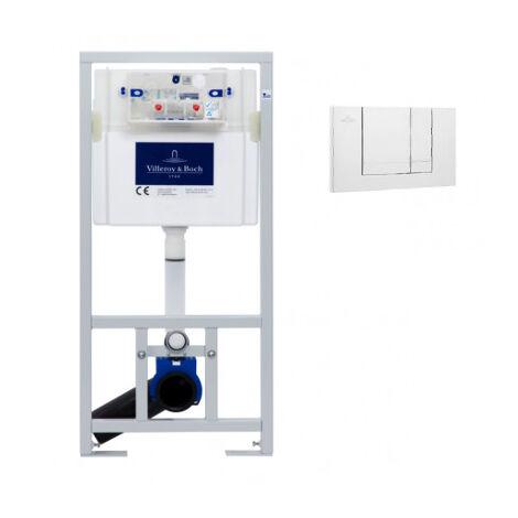 Villeroy & Boch Viconnect Pro Pack Bâti support pour WC suspendu + Plaque double touche blanche + Manchon 90/100 (92214468VS0)