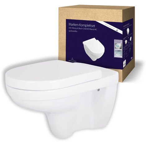 Villeroy & Boch WC spülrandlos O.novo 5660R001 mit extra WC-Sitz, Weiß, mit DirectFlush & AQUAREDUCT, spülrandloses Wand-WC Set wassersparend, WC Komplett Set, Toilette mit Toilettendeckel, 04783 8