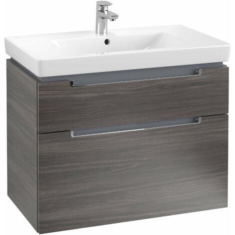 Villeroy et Boch Meuble-lavabo XXL Subway 2.0 A914, Coloris: Chêne Graphite, manche : chromé brillant - A91410FQ