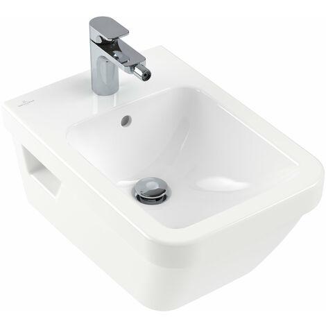 Villeroy und Boch Bidet Architectura 448500 370x530mm para montaje en pared, para grifería de 1 agujero, 1 agujero para grifo, blanco, color: Blanco - 44850001