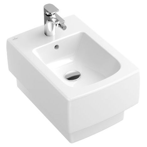 Villeroy und Boch Bidet Memento 542800 375x560mm, blanco, de pared, con rebosadero, apto para montaje de 1 agujero, color: Blanco - 54280001