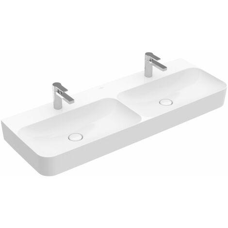 Villeroy und Boch double lavabo Finion 4139DC 1300x470mm, trop-plein encastré, 2 trous pour robinet, face inférieure poncée, Coloris: Starwhite Ceramicplus - 4139DCR2