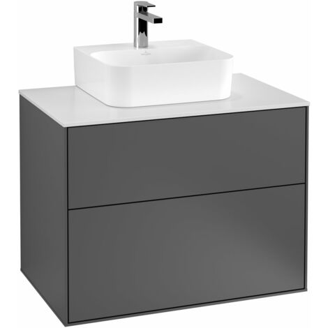 Villeroy und Boch Finion Módulo de lavabo F08100, 800x603x501mm, placa de cubierta Blanco Mate, color: Chapa de Nogal - F08100GN