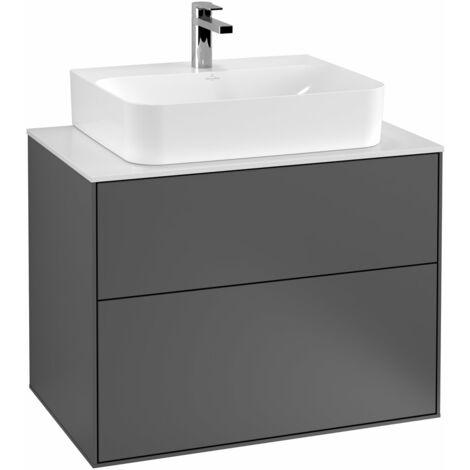 Villeroy und Boch Finion Módulo de lavabo F09100, 800x603x501mm, placa de cubierta Blanco Mate, color: Chapa de Nogal - F09100GN