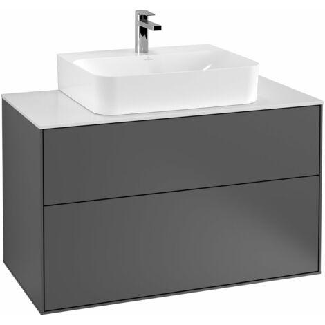 Villeroy und Boch Finion Módulo de lavabo F10200, 1000x603x501mm, placa de cubierta Negro Mate, color: Chapa de Nogal - F10200GN