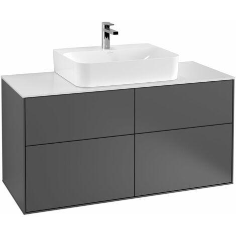 Villeroy und Boch Finion Módulo de lavabo F13100, 1200x603x501mm, placa de cubierta Blanco Mate, color: Chapa de Nogal - F13100GN
