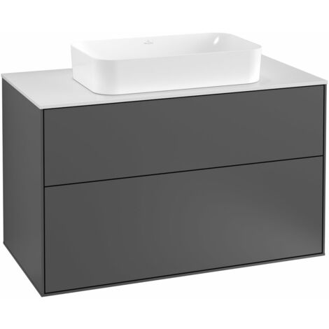 Villeroy und Boch Finion Módulo de lavabo F23100, 1000x603x501mm, placa de cubierta Blanco Mate, color: Chapa de Nogal - F23100GN