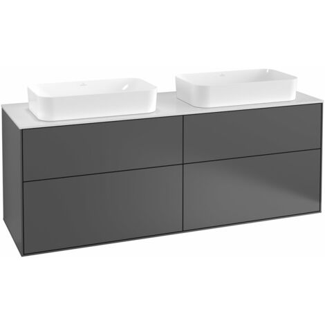 Villeroy und Boch Finion Módulo de lavabo F31200, 1600x603x501mm, placa de cubierta Negro Mate, color: Chapa de Nogal - F31200GN