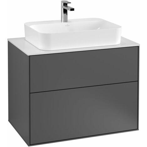Villeroy und Boch Finion Módulo de lavabo F34100, 800x603x501mm, placa de cubierta Blanco Mate, color: Chapa de Nogal - F34100GN