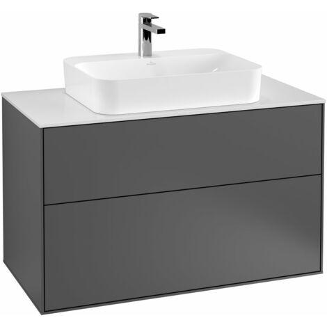 Villeroy und Boch Finion Módulo de lavabo F35100, 1000x603x501mm, placa de cubierta Blanco Mate, color: Chapa de Nogal - F35100GN