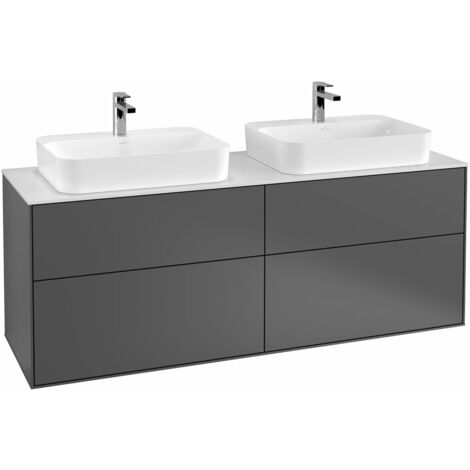 Villeroy und Boch Finion Módulo de lavabo F43200, 1600x603x501mm, placa de cubierta Negro Mate, color: Chapa de Nogal - F43200GN