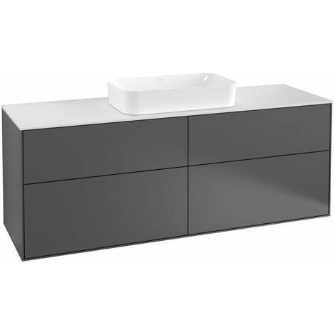 Villeroy und Boch Finion Módulo de lavabo F73200, 1600x603x501mm, placa de cubierta Negro Mate, color: Chapa de Nogal - F73200GN