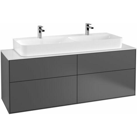 Villeroy und Boch Finion Vanity unit G20100, 1600x603x501mm, con iluminación LED, placa de cubierta Blanco Mate, color: Gris claro mate - G20100GJ