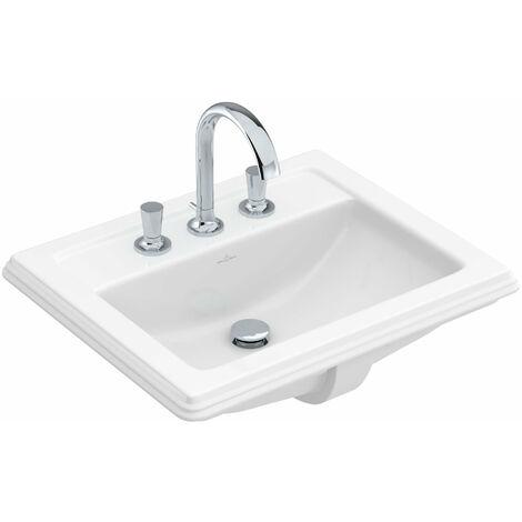 Villeroy und Boch Hommage lavabo à encastrer 7102A1 630x525mm, blanc, avec trop-plein, pour montage 3 trous, Coloris: Starwhite Ceramicplus - 7102A1R2