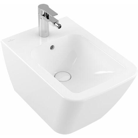 Villeroy y Boch Bidet Finion 446500 375x560mm, con rebosadero, 1 agujero para grifo, color: Stone White, Ceramic Plus - 446500RW