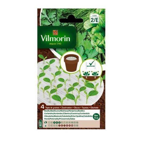 Vilmorin Semillas de Albahaca, Cilantro, Cebolleta y Perejil - 4 Discos Biodegradables