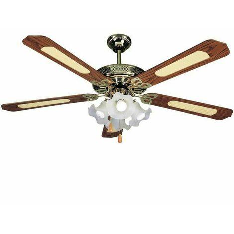 Montaggio Lampadario Con Ventilatore.Vinco Ventilatore Da Soffitto O132cm 5 Pale 4 Luci Coppe Tulipano Legno Ottone