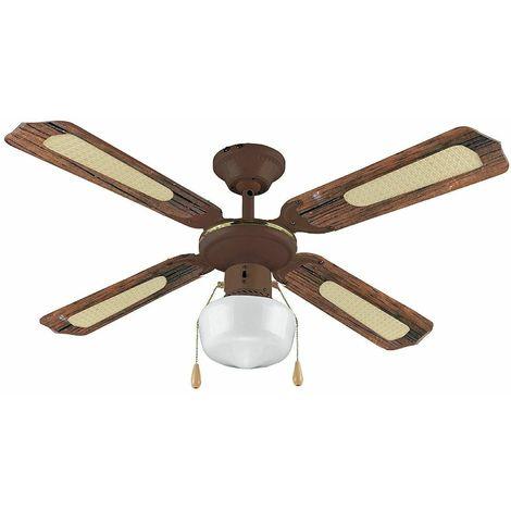 Vinco ventilatore da soffitto agitatore d'aria 4 pale 1 luce marrone Ø 107cm 55w
