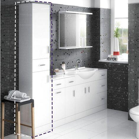 Vinda Tall Bathroom Cabinet Unit Gloss White